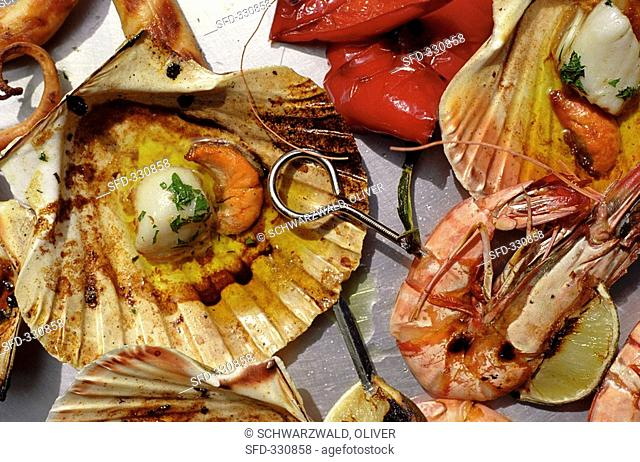 Seafood on a barbecue rack