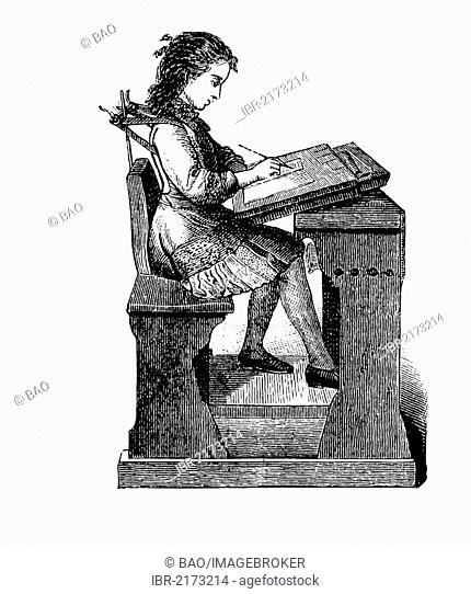 Fuerst'sche Geradehalter, a support for holding the back straight, school desk with assisted seating, historical engraving, circa 1885