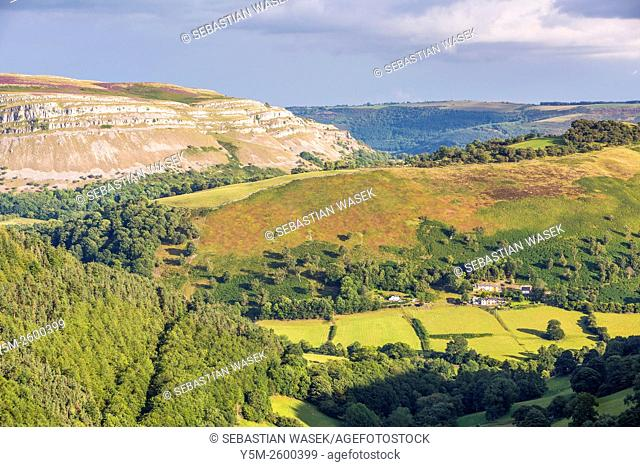 Maesyrychen Mountain seen from Horseshoe Pass, Llandegla, Denbighshire, Wales, United Kingdom, Europe