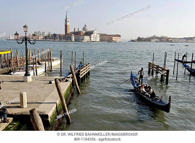 Boat pier San Zaccaria with San Giogio Maggiore, Venice, Venezia, Italy, Europe