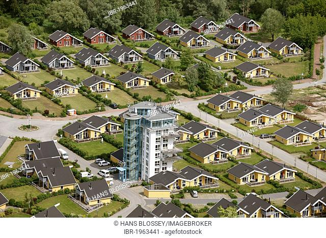 Aerial view, vacation homes, Claassee, Rechlin, Mueritz county, Mecklenburg-Western Pomerania, Germany, Europe