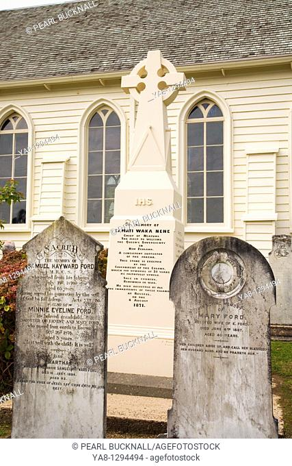 Russell Bay of Islands Northland North Island New Zealand  Old grave headstones and memorial stone cross to Tamati Waka Nene chief of Ncapuhi in Christ Church...