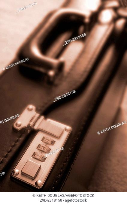Business concept of locked briefcase