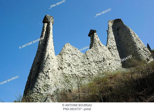 The Euseigne earth pyramids in the alps in Valais, Switzerland