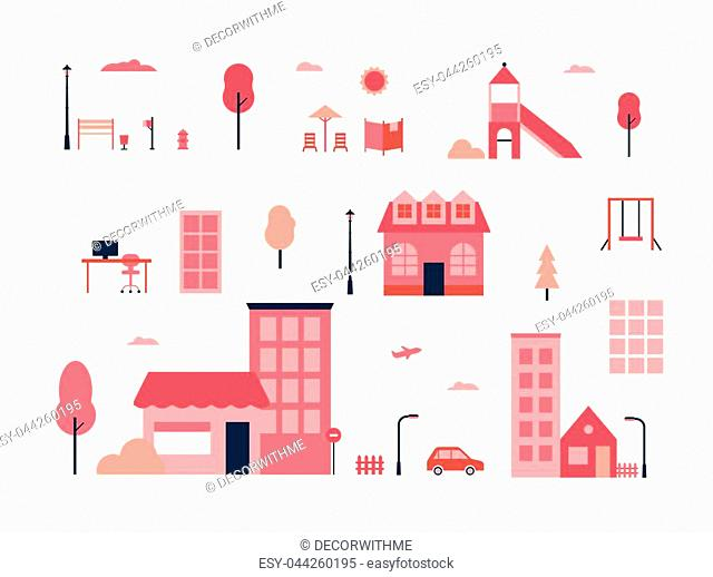 City elements - flat design style set of isolated objects on white background for creating your own images. A collection of red buildings, playground items