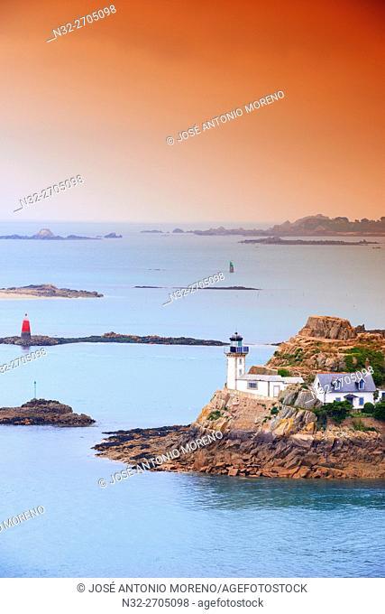 Lighthouse, Ile Louet, Louet Island, Carantec, Morlaix Bay, Pointe de Pen al Lann, Bretagne, Brittany, France, Europe