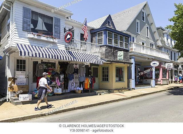Shops and restaurants line Circuit Avenue, the main shopping district in downtown Oak Bluffs, Massachusetts on Martha's Vineyard