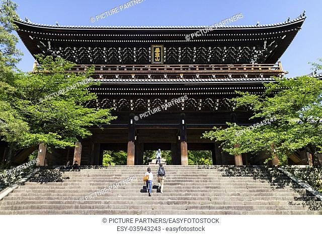 Kyoto, Japan - Massive Sanmon Gate, the entrance to the Buddhist Chion in temple