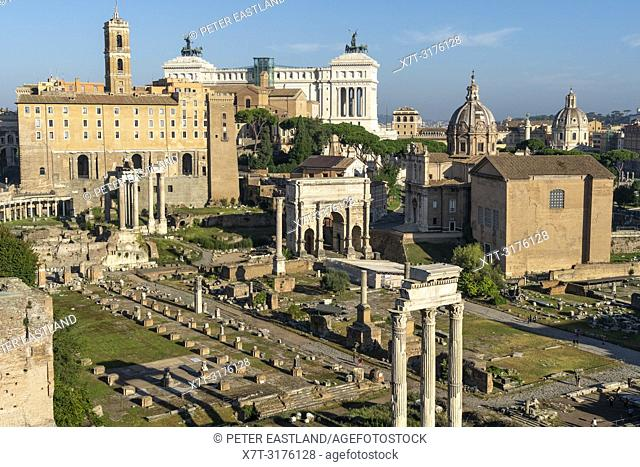 Looking across The Roman Forum from the Palatine Hill, with the Arch of Septimius Severus in the middle distance and the Altare della Patria in the background