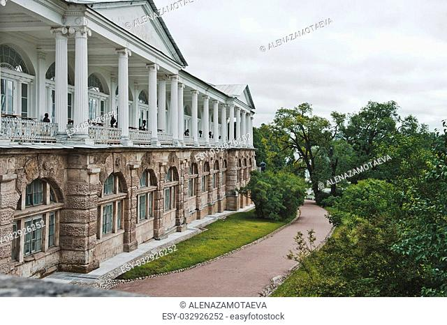Building, object of heritage in Catherine Park of Tsarskoye Selo nearby to the city of St. Petersburg