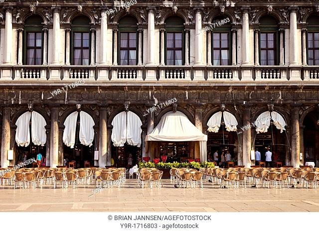Waiting for the customers - outdoor dining in the Piazza San Marco, Venice Veneto Italy