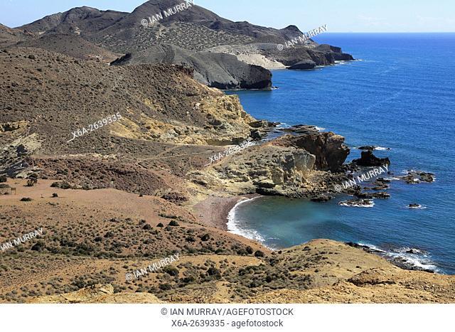 Coastal landscape Cabo de Gata national park, looking east towards San Jose, Almeria, Spain