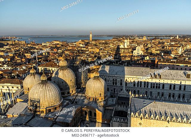 Partial aerial view of Venice in Italy