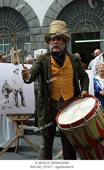 Drummer at the traditional market 'Le Viaer Marche' St. Peter Port Guernsey Channel Islands Great Britain drum