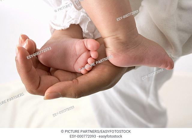 Parents Hand Holding Little Baby Foot In The Studio