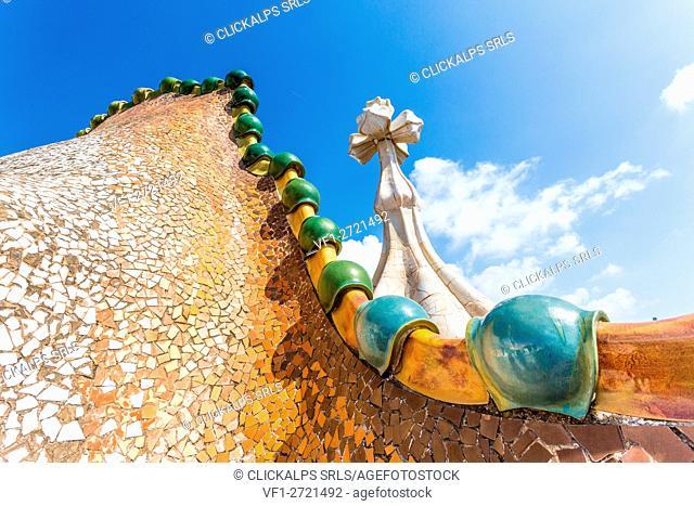 Barcelona, Spain, Casa Batlo rooftop details, chimney designed by Antonio Gaudi