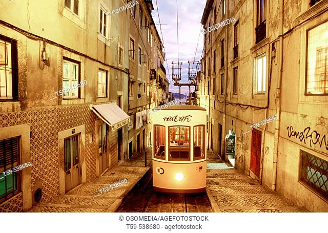 Electrico in the quarter of Bairro Alto. Lisbon, Porugal