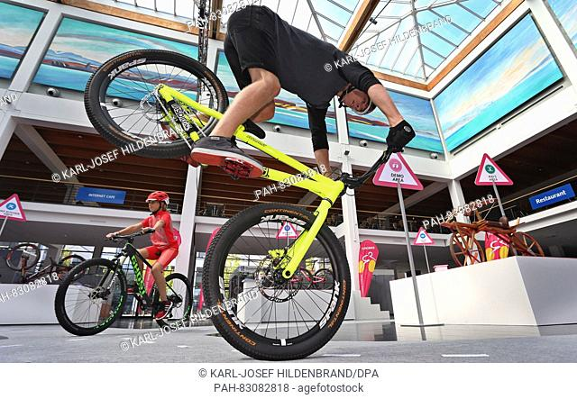 Trial- and mountain biker Fabio Wibmer shows his skills Bicycles at a press conference on the fair 'Eurobike' in Friedrichshafen, Germany, 25 August 2016
