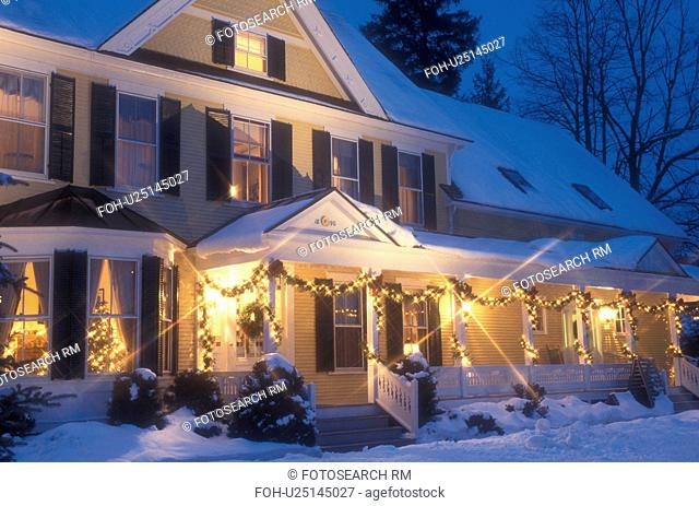 Inn, Hotel, country inn, B&B, resort, decorations, holiday, Christmas, snow, winter, The Jackson House Inn (a Country Inn) is decorated with white lights for...