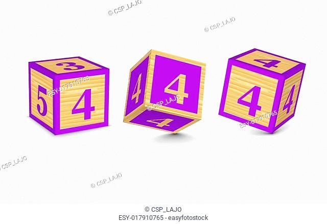 Vector number 4 wooden blocks