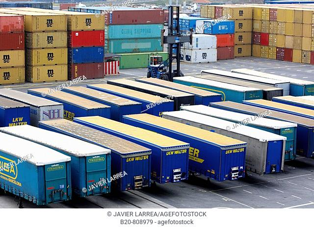 Trailers shipping, Motorways of the Sea. Port of Bilbao, Biscay, Basque Country, Spain