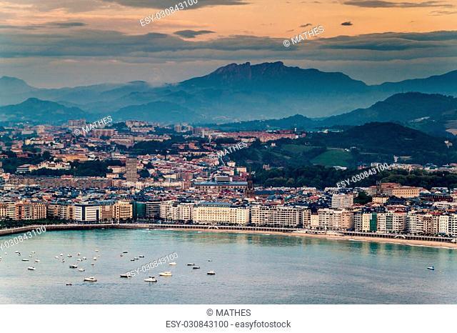 Aerial view of San Sebastian, Spain