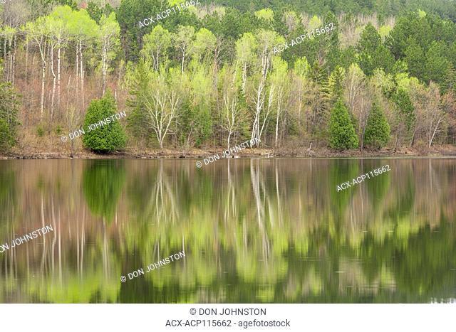Spring reflections on Simon Lake, Greater Sudbury, Ontario, Canada