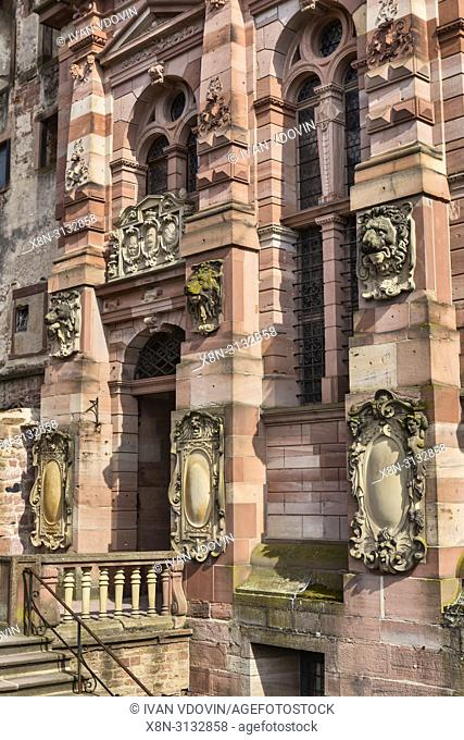 Friedrich building (1607), Heidelberg Castle, Heidelberger Schloss, Heidelberg, Baden-Wurttemberg, Germany