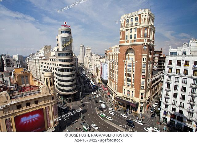 Spain , Madrid City, Callao Square and Gran Via Avenue