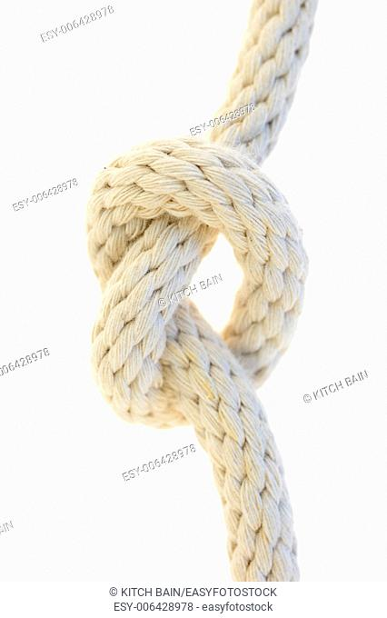 A close up shot of a white rope