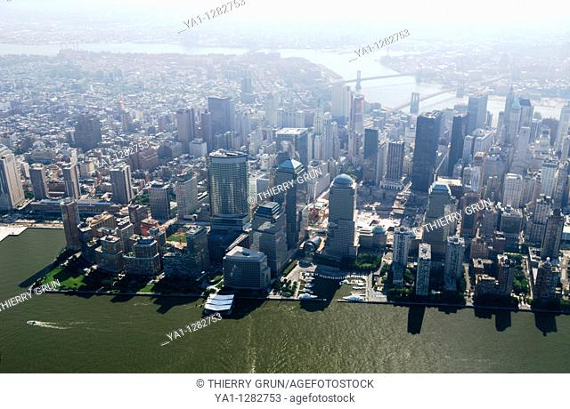 Aerial of south Manhattan, note in middle Ground zero still in construction, site of World Trade Center, New York city, USA, (picture took the 25/08/09)