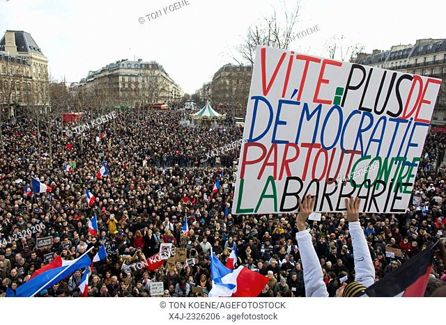 march in paris on 11 jan 2015 as protest against the killing of the Charlie Hebdo cartoonists
