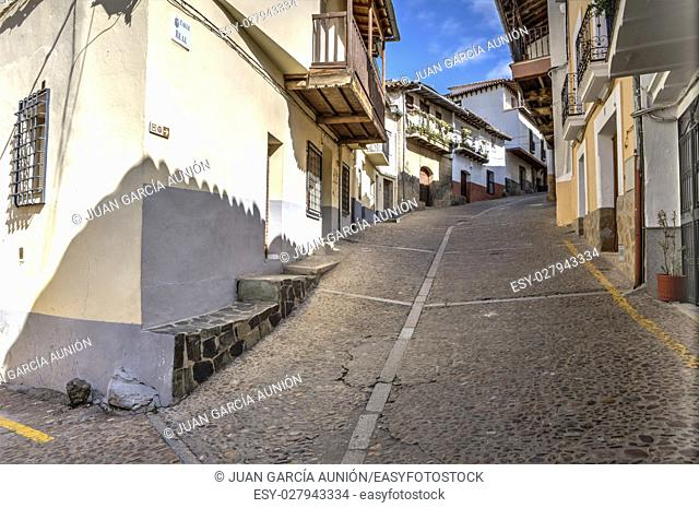 Guadalupe old town steep street, Caceres, Extremadura, Spain