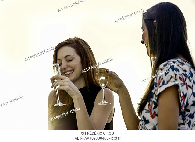 Woman drinking champagne together outdoors
