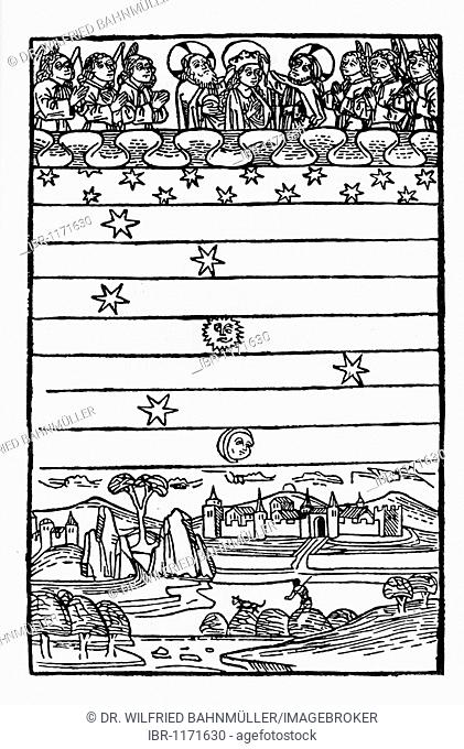 Heaven, firmament and earth, wood carving from medieval times
