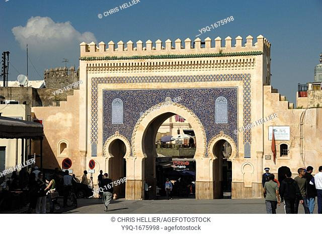 Main Bab Bou Jeloud Town or City Gate to the Medina or Old Town Fez Morocco