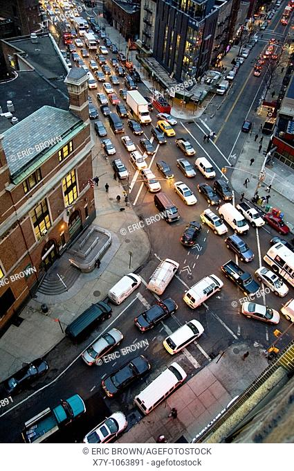 View of traffic at the intersection of Varick and Clarkson, from the 9th floor of a building in West Village, Manhattan, NYC