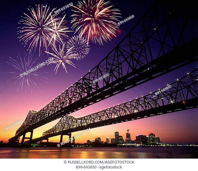 Crescent City Bridges. Mississippi River. New Orleans. Louisiana. USA