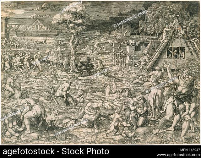The Deluge. Artist: Dirck Vellert (Netherlandish, Amsterdam (?) ca. 1480/85-ca. 1547); Date: 1544; Medium: Engraving possibly with etching; Dimensions: sheet 11...