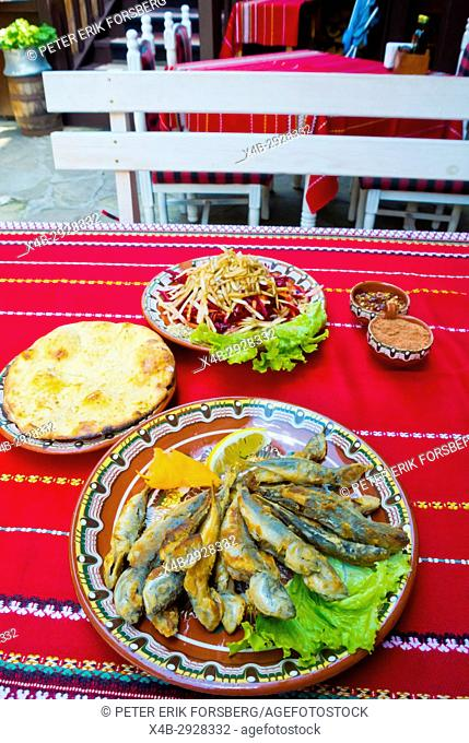 Grilled small fish, scad, salad, bread, Mehana Sozopol, old town, Sozopol, Bulgaria