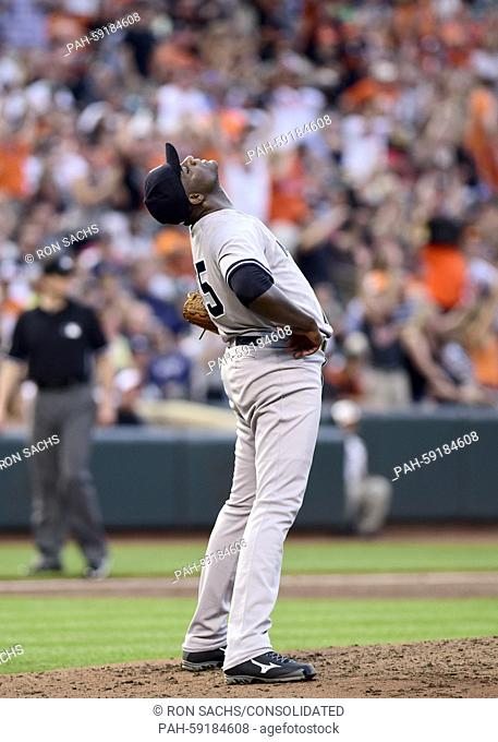 New York Yankees starting pitcher Michael Pineda (35) reacts after giving up a 3 run home run in the third inning to Baltimore Orioles first baseman Chris Davis...