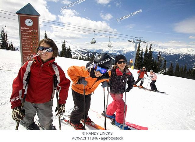 A Young family on Whistler Mountain, British Columbia, Canada