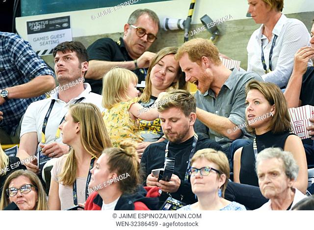 Prince Harry at Invictus Games Toronto 2017 during sitting volleyball matches Featuring: Prince Harry, Hayley Henson, Emily Henson Where: Toronto