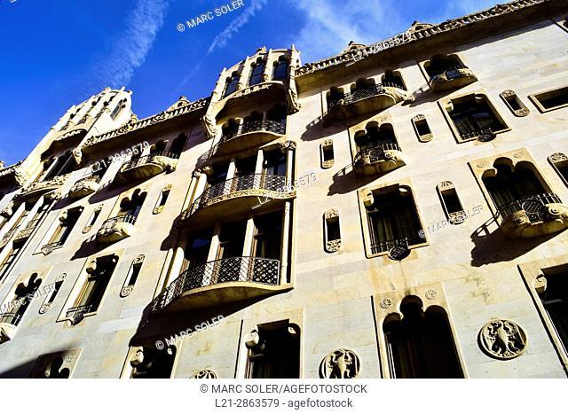 Hotel Casa Fuster 1908-1910. Designed by Lluís Domènech i Montaner architect. Gracia quarter, Barcelona, Catalonia, Spain