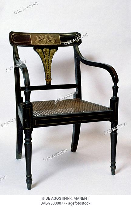 Beech chair, ca 1800, part of a set. Spain, early 19th century.  Barcelona, Palau De Pedralbes, Museu D'Arts Decoratives (Art Ad Crafts Museum)