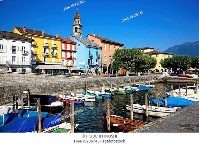 Switzerland, Europe, Canton, Ticino, Ascona, travel, Geography, Town, Harbour, Church, Lake, Scenic, Horizontal
