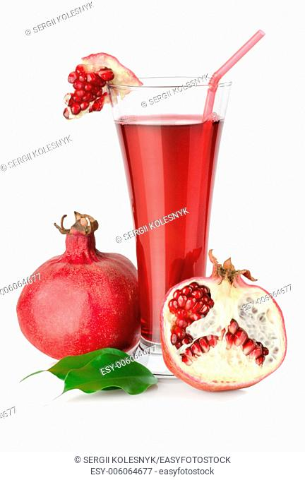 Pomegranate juice is isolated on a white background