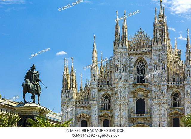 Milan Cathedral and Vittorio Emanuele II statue. Milan, Lombardy, Italy, Europe