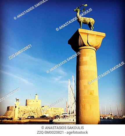 Entrance to the harbour of Rhodes town, Greece