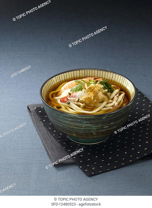 Udon noodle soup with mushrooms and prawns
